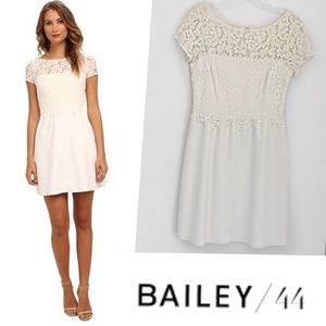 BAILEY 44 STARRY SKY WHITE FAUX LEATHER LACE DRESS